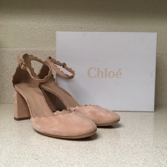 4ac6f55509d4 Chloe Shoes - Chloe Scalloped Ankle d Orsay Pump In Nude Sz 39.5